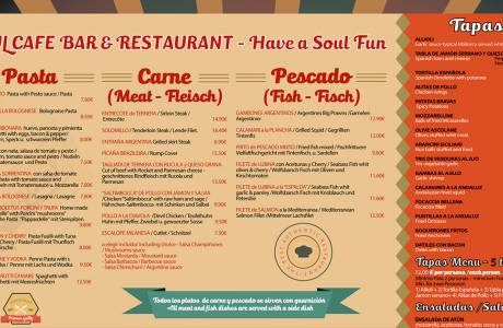 Carta poster restaurante Soul -